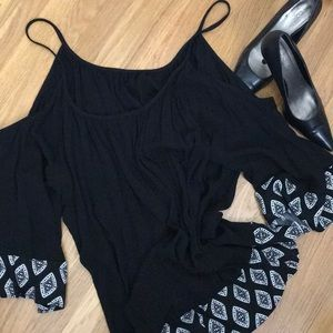 Torrid cold shoulder black gauzy blouse 4 NWT